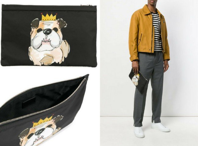 DOLCE & GABBANA bulldog print pouch
