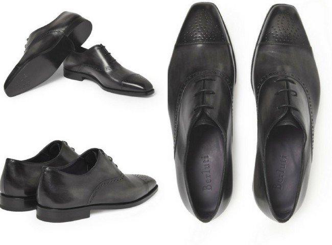 BERLUTI Grigio Leather Oxford Brogues
