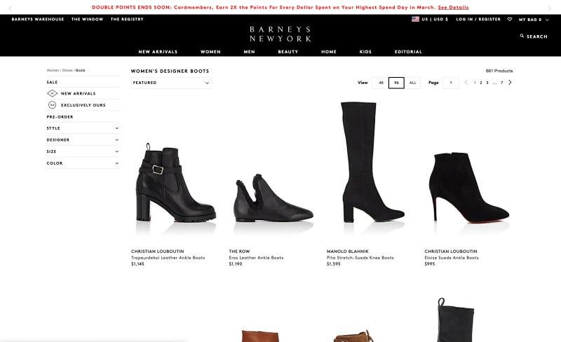 Barneys New York catalog page screenshot March 25, 2019