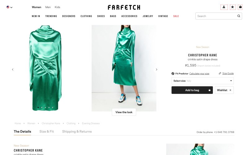 Farfetch product page screenshot on March 25, 2019