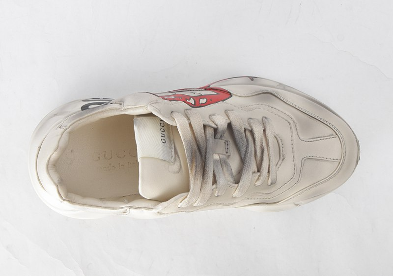 GUCCI Rhyton Printed Distressed Leather Sneakers Red Lips 1