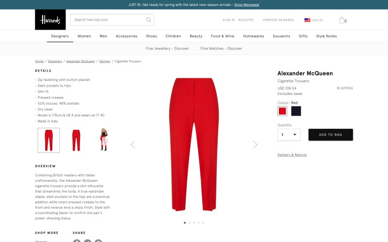 Harrods product page screenshot on March 27, 2019