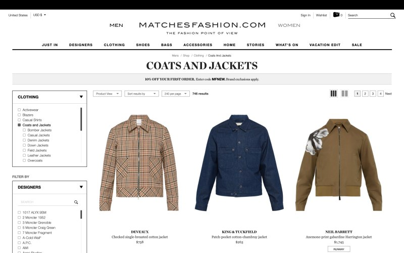 Matches Fashion catalog page screenshot on March 27, 2019
