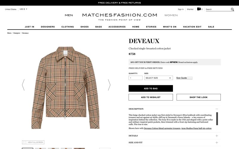 Matches Fashion product page screenshot on March 27, 2019