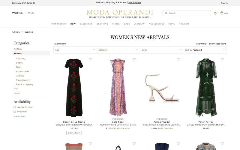 Moda Operandi catalog page screenshot on March 26, 2019