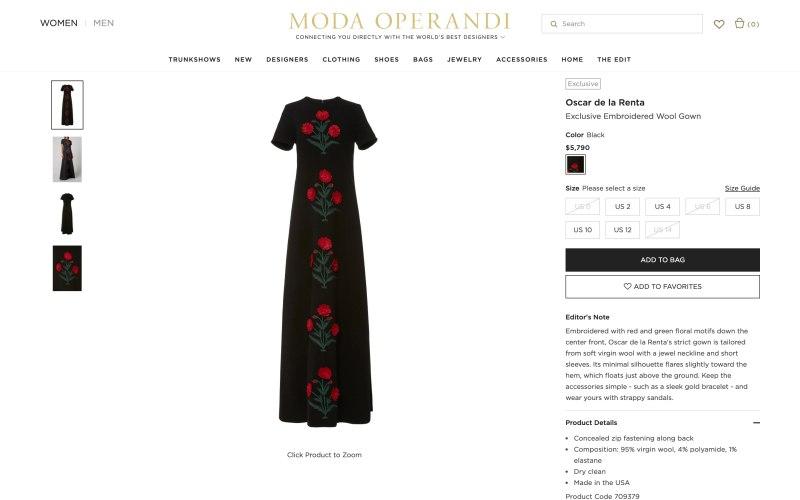 Moda Operandi product page screenshot on March 26, 2019