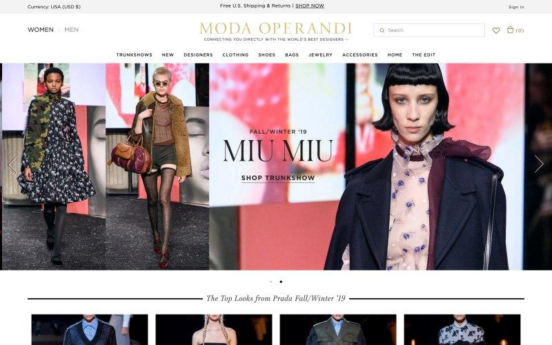 Moda Operandi home page screenshot on March 26, 2019