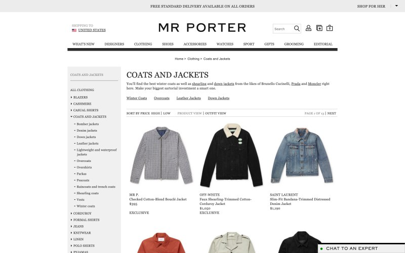 Mr Porter catalog page screenshot on March 29, 2019