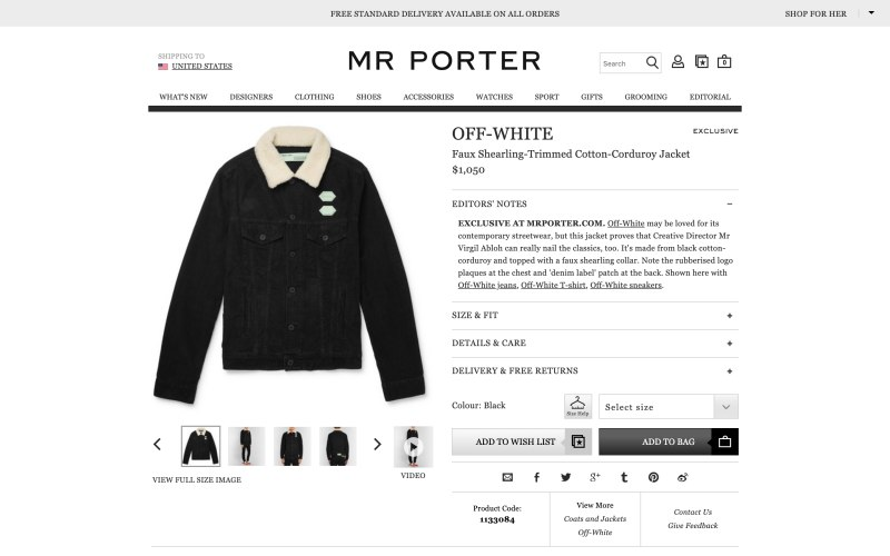 Mr Porter product page screenshot on March 29, 2019