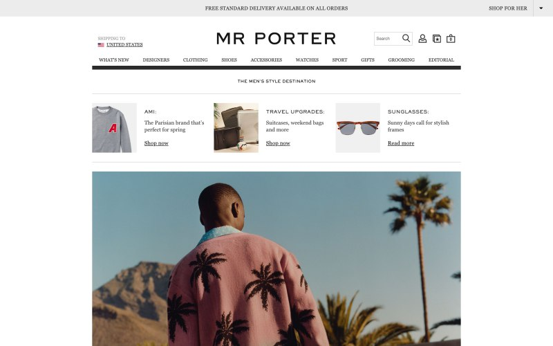 Mr Porter home page screenshot on March 29, 2019