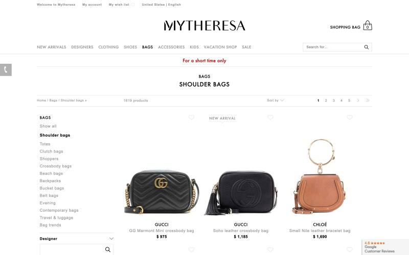 Mytheresa catalog page screenshot on March 26, 2019