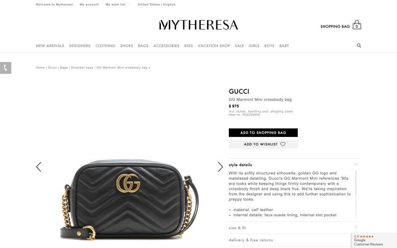 Mytheresa product page screenshot on March 26, 2019