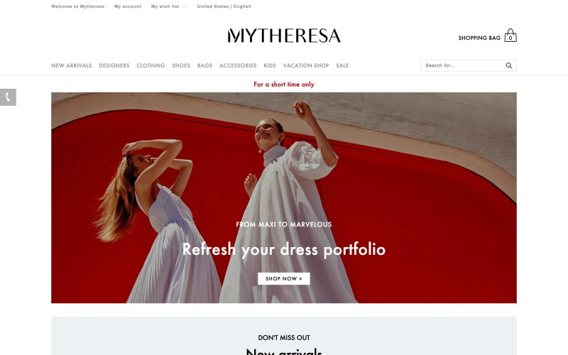 a2e859a2a0f Mytheresa home page screenshot on March 26