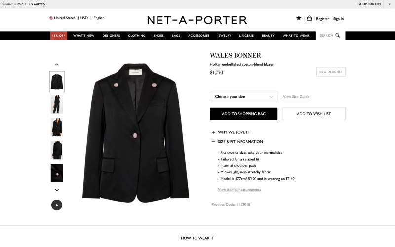 NET-A-PORTER product page screenshot on March 25, 2019