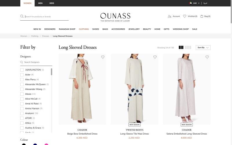 Ounass catalog page screenshot on March 29, 2019