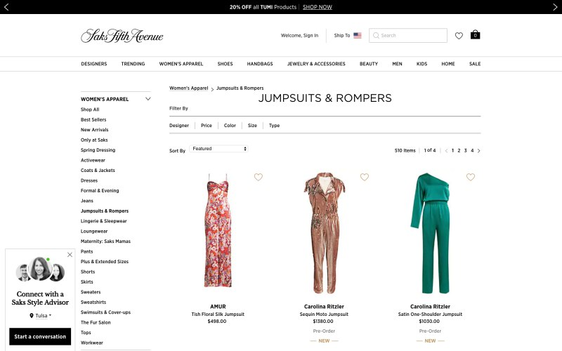 Saks Fifth Avenue catalog page screenshot on March 29, 2019