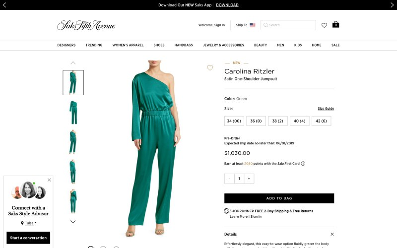 Saks Fifth Avenue product page screenshot on March 29, 2019