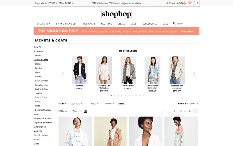 Shopbop catalog page screenshot on March 26, 2019