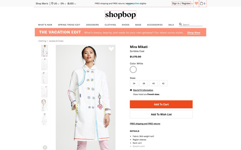 Shopbop product page screenshot on March 26, 2019