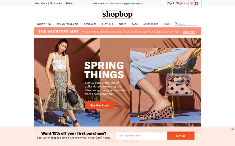 Shopbop home page screenshot on March 26, 2019