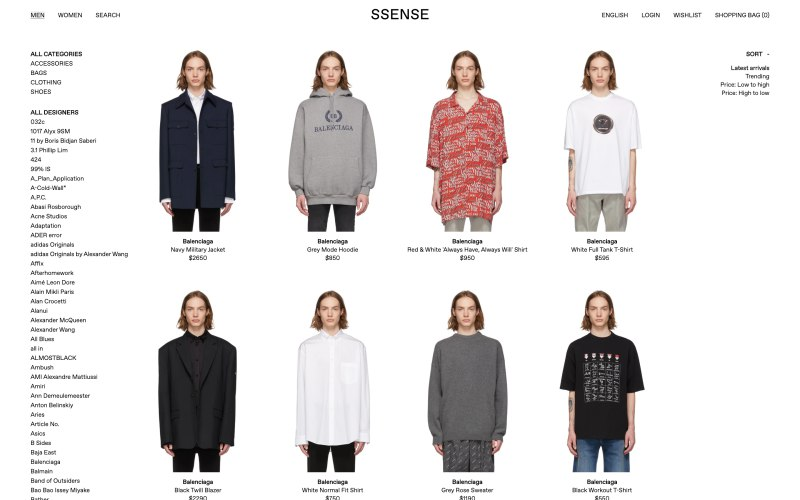 Ssense catalog page screenshot on March 28, 2019