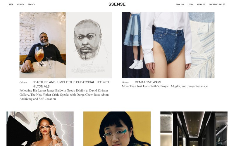 Ssense home page screenshot on March 28, 2019