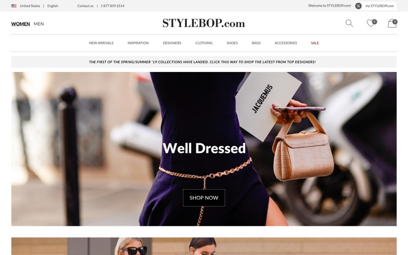 Stylebop home page screenshot on March 28, 2019