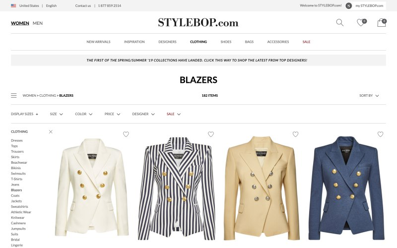 Stylebop catalog page screenshot on March 28, 2019