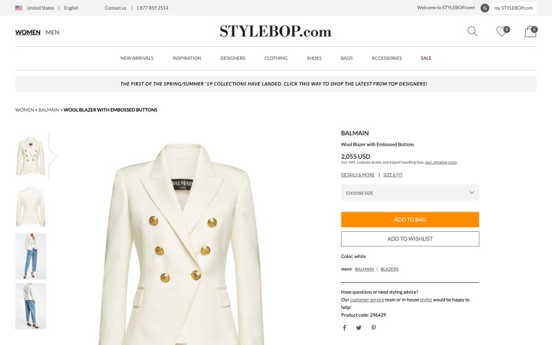 Stylebop product page screenshot on March 28, 2019
