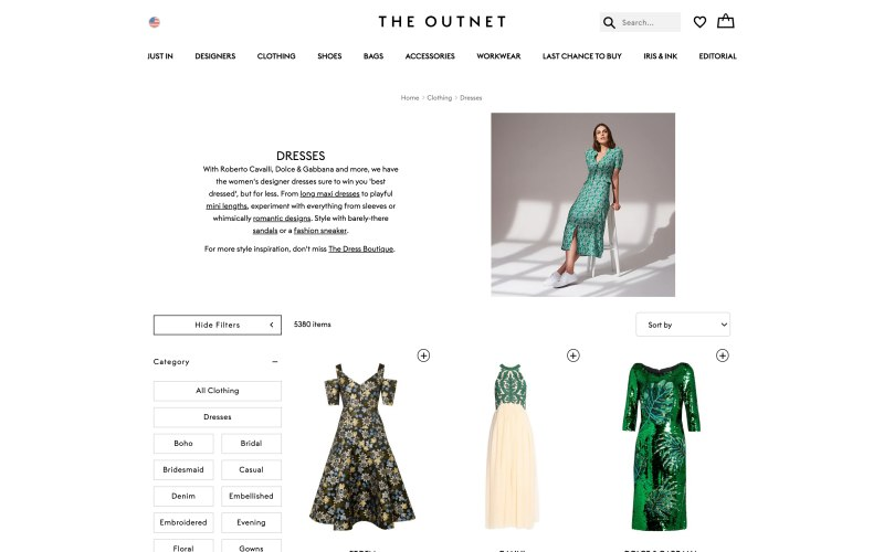 The Outnet catalog page screenshot on March 27, 2019