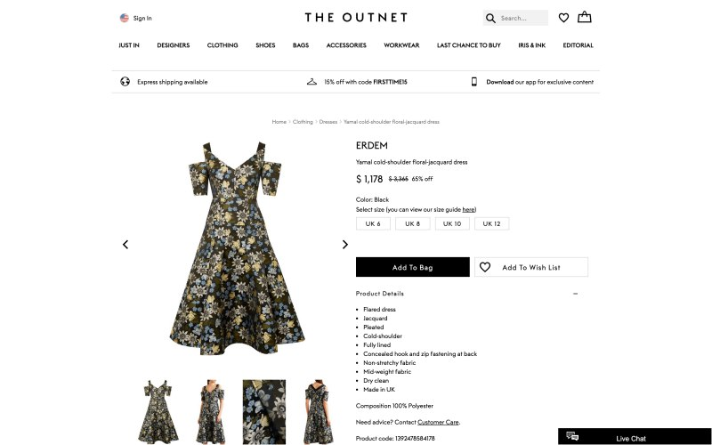 The Outnet product page screenshot on March 27, 2019