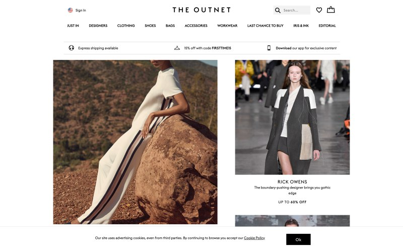 The Outnet home page screenshot on March 27, 2019