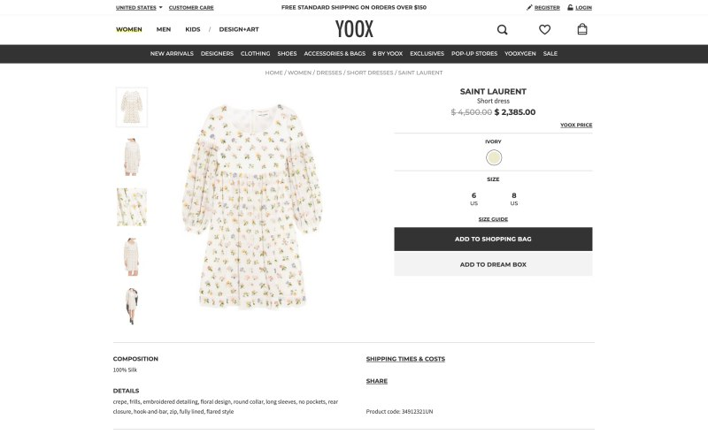 YOOX product page screenshot on March 28, 2019