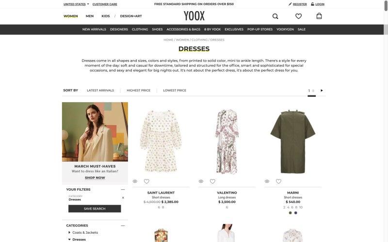 YOOX catalog page screenshot on March 28, 2019