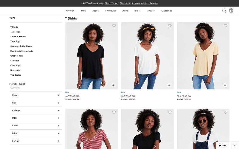 American Eagle Outfitters catalog page screenshot on April 13, 2019