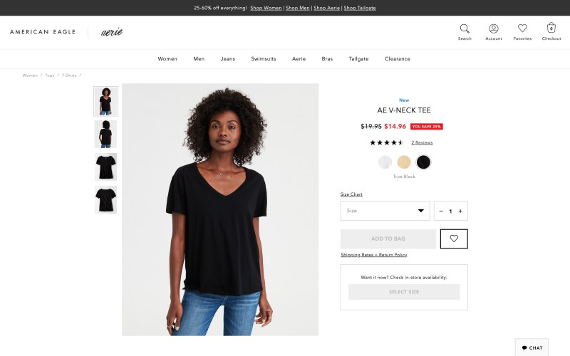 American Eagle Outfitters product page screenshot on April 13, 2019