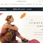 Anthropologie home page screenshot on April 28, 2019