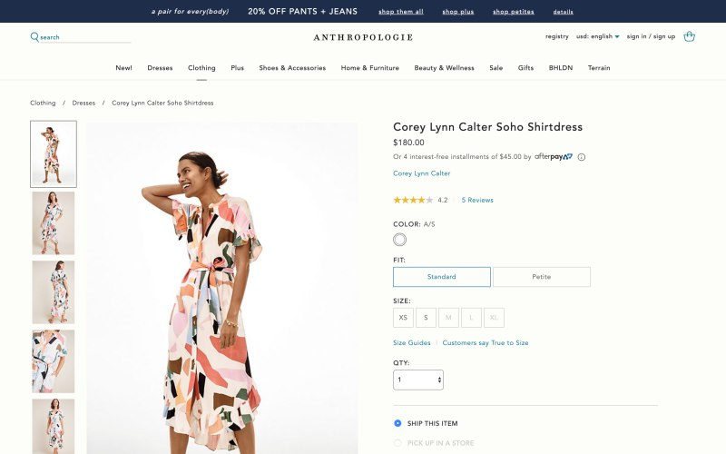 Anthropologie product page screenshot on April 28, 2019