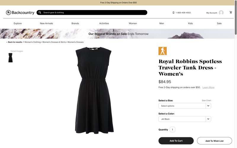Backcountry product page screenshot on April 11, 2019