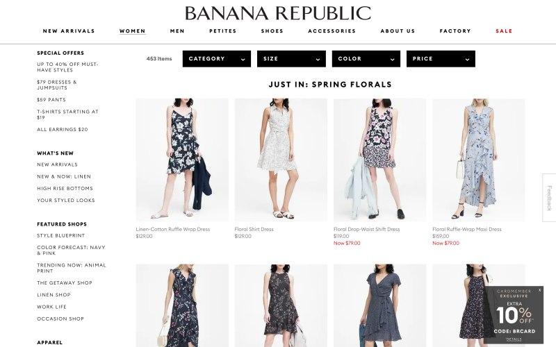 Banana Republic catalog page screenshot on April 13, 2019