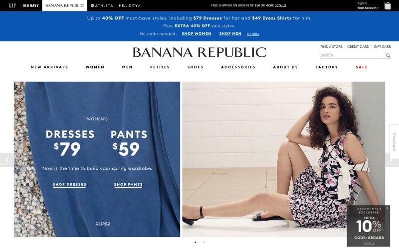 Banana Republic home page screenshot on April 13, 2019