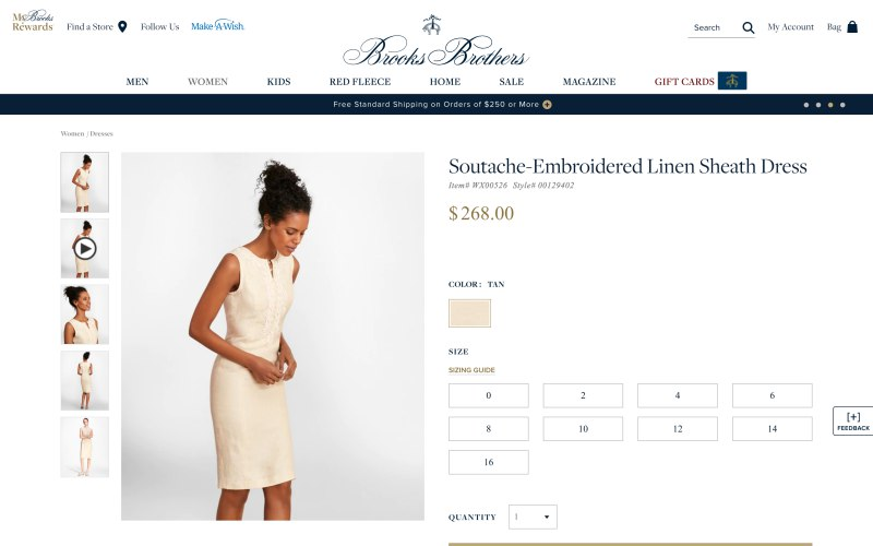 Brooks Brothers product page screenshot on April 17, 2019