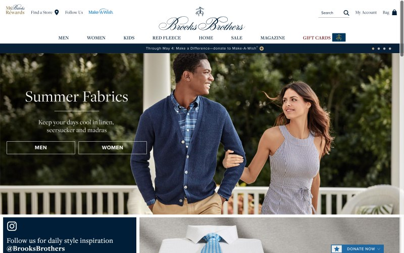 Brooks Brothers home page screenshot on April 17, 2019