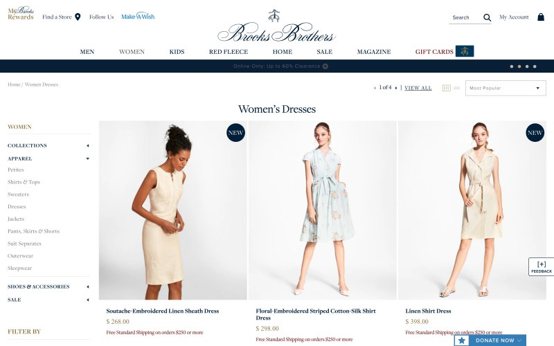 Brooks Brothers catalog page screenshot on April 17, 2019