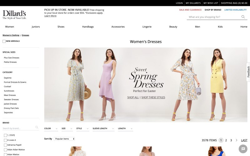 Dillard's catalog page screenshot on April 4, 2019