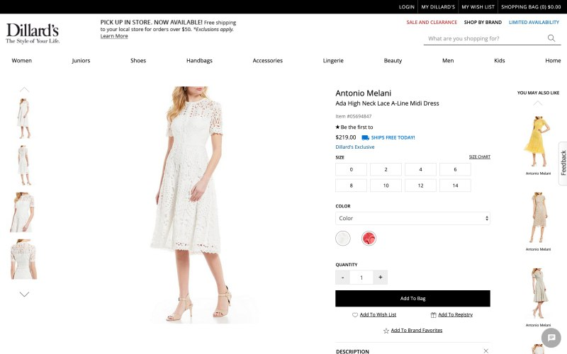 Dillard's product page screenshot on April 4, 2019