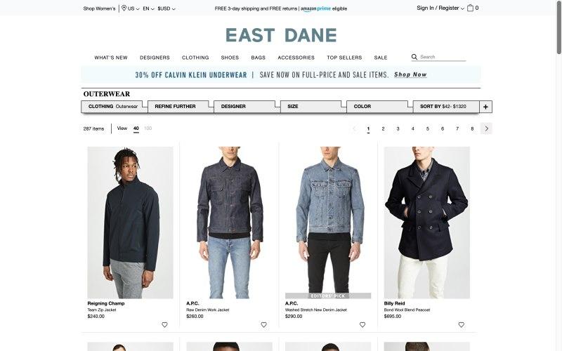 East Dane catalog page screenshot on April 17, 2019