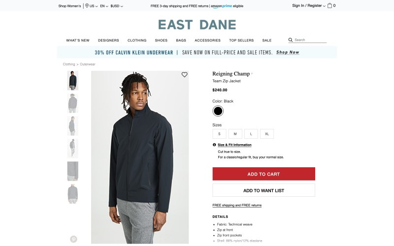 East Dane product page screenshot on April 17, 2019