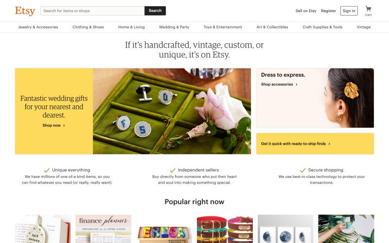 Etsy home page screenshot on April 10, 2019