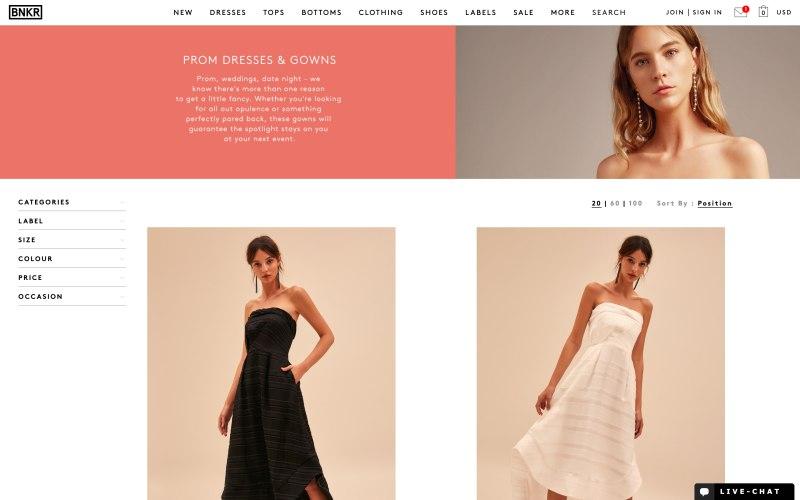 Fashion Bunker catalog page screenshot on April 26, 2019